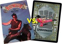 Feng Shui RPG vs. Shadowfist CCG. Rulebook art copyright 1996 Phil Hale all rights reserved. Ting Ting art copyright 1995 Brian Snoddy all rights reserved.